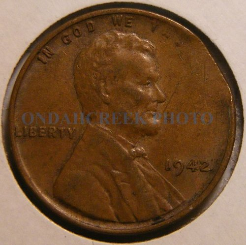 1942 Lincoln Cent Clipped Planchet Error AU