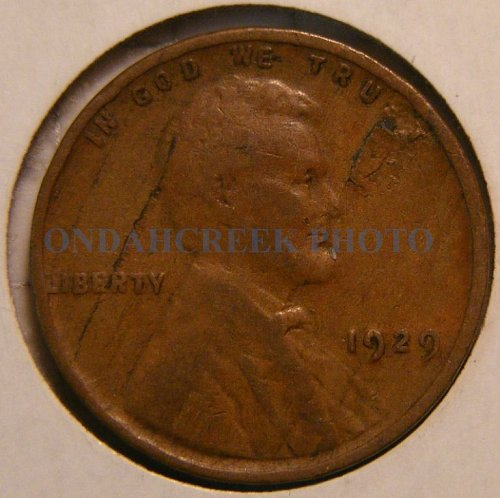 1929 Lincoln Cent VG with lamination error