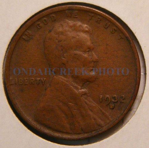 1932-D Lincoln Cent Fine with lamination error