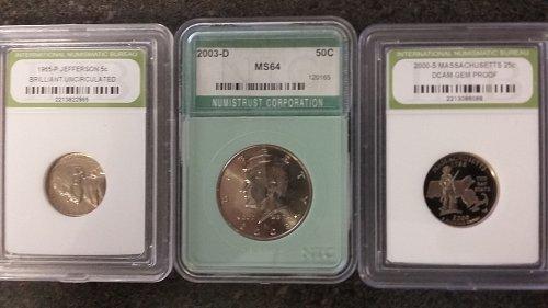 3 beautiful graded coins half quarter nickel