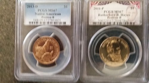 2 MS 67 pcgs position B. president Hayes,Native American