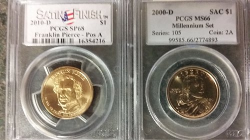 2 pcgs graded presidential dollars sp68 ms66