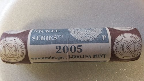 full roll of Jefferson bison series 2005P nickels