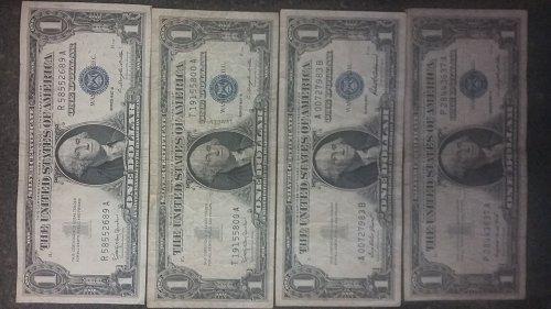 4 Rare one dollar bills antique silver certificates