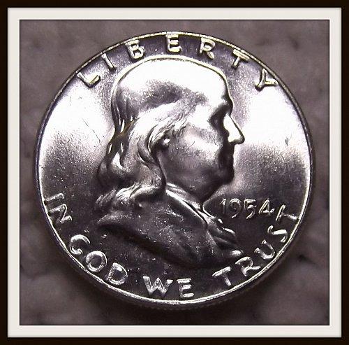 1954 - P Franklin Silver Half Dollar (BU)