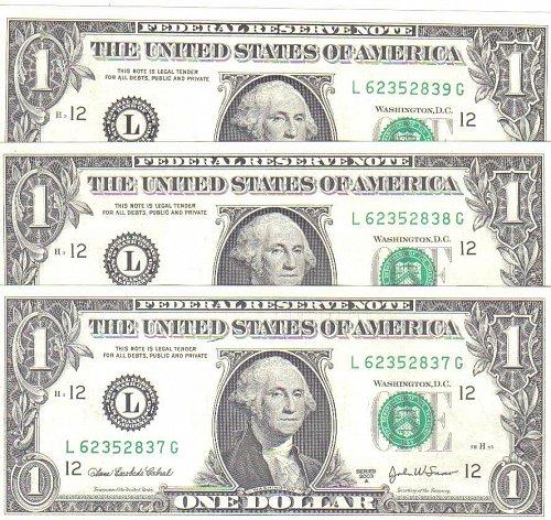 3 CONSECUTIVE  2003 A  DOLLAR BILLS