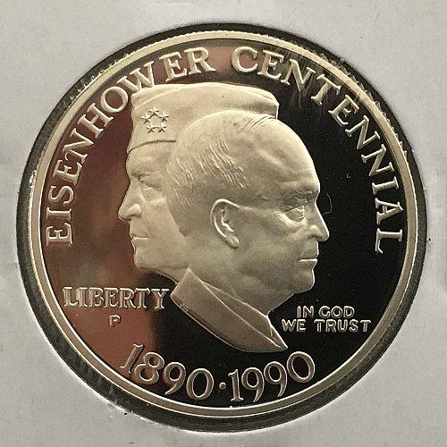 1990 P Eisenhower Centennial Silver Dollar Proof