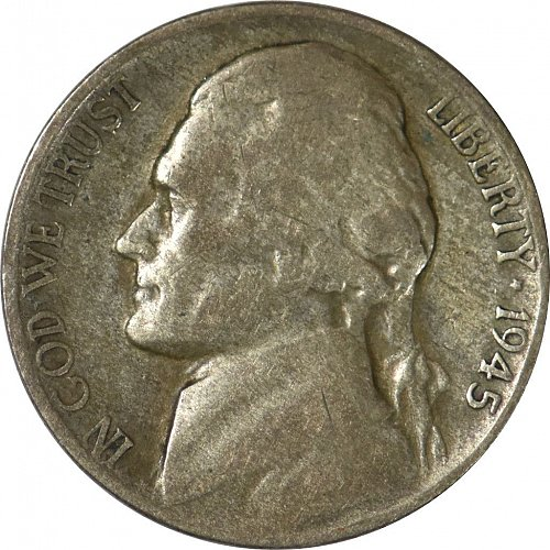 1945 S Jefferson Nickel, G 04, Wartime Nickel, (Item 158)