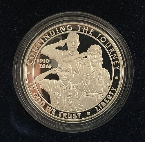 2010 P Boy Scouts of America Centennial Silver Dollar Proof - COA