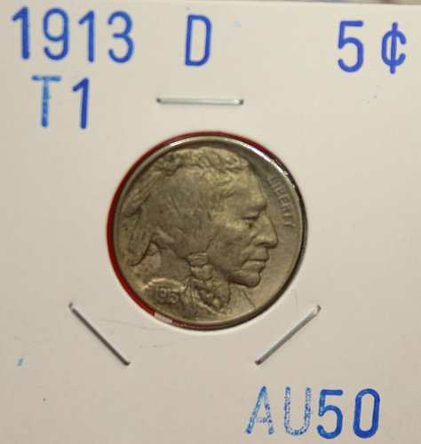 1913 D T1 Buffalo Nickel
