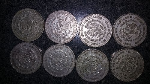 Rare Very good Lot 8 UN Pesos o.1000 Silver  Mexican dollars