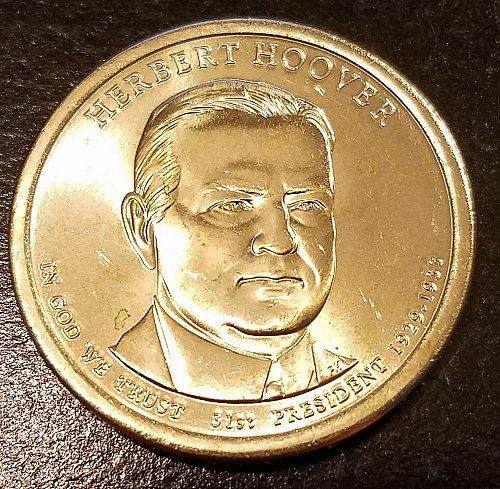 2014-D Herbert Hoover Presidential Dollar - From US Mint Roll (6416)