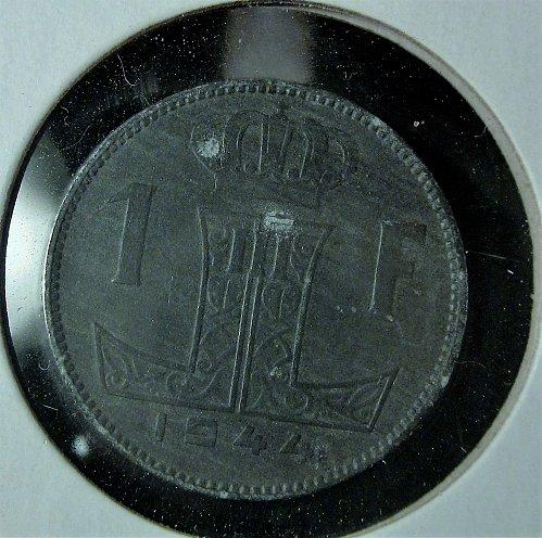Belgium 1 Franc 1944 BELGIE-BELGIQUE  (Zinc)