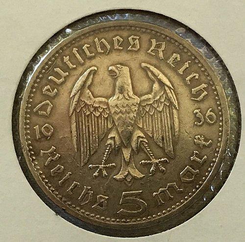1936 A 5 Reichsmark - Germany Third Reich .900 Silver