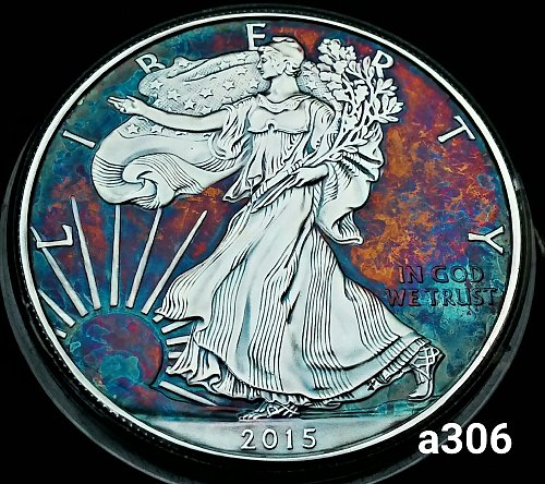 2015 Rainbow Toned Silver American Eagle 1 troy ounce silver #a306