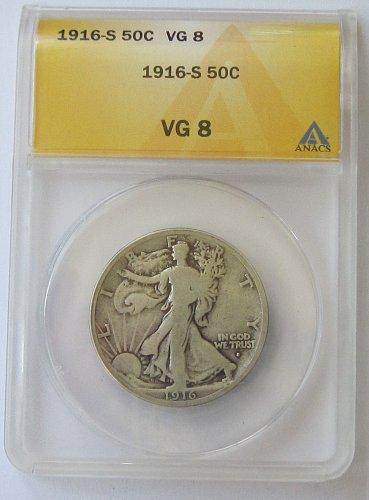 1916 S Walking Liberty Half Dollar - ANACS - Graded VG-8 - 508,000 Minted - Rare