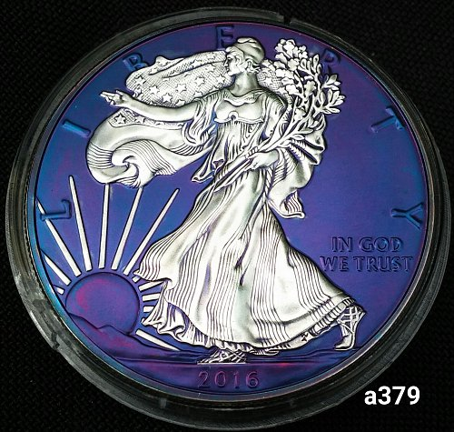 2016 Rainbow Toned Silver American Eagle 1 troy ounce silver #a379