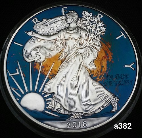 2016 Rainbow Toned Silver American Eagle 1 troy ounce silver Monster toned #a382