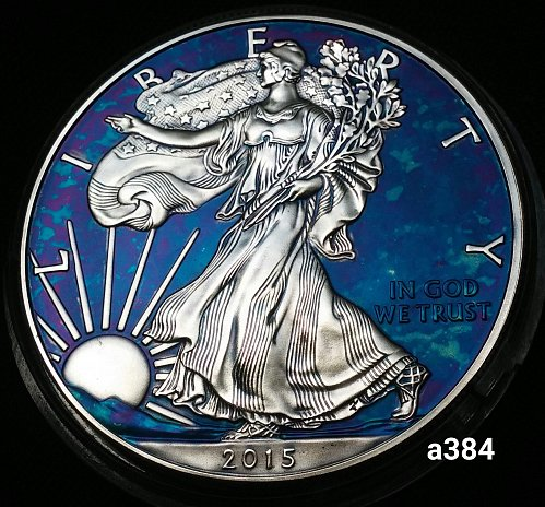 2016 Rainbow Toned Silver American Eagle 1 troy ounce silver Monster toned #a384