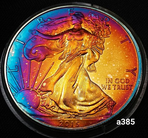2015 Rainbow Toned Silver American Eagle 1 troy ounce silver Monster toned #a385