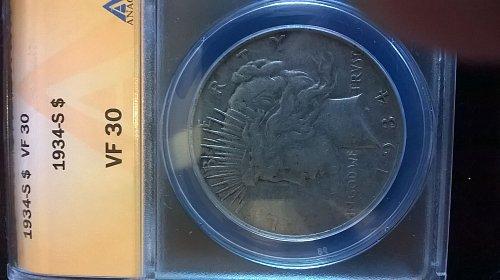 1934-S Peace Dollar ANACS VF30