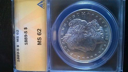 1889 S Morgan Dollar ANACS MS62
