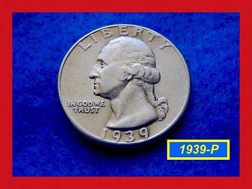 1939-P Washington SILVER Quarter   (#2354)