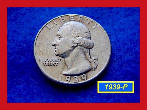 1939-P Washington SILVER Quarter   (#2354)