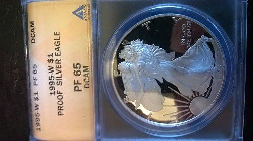 1995-W 10th Anniversary Proof Silver Eagle ANACS PF-65DCAM