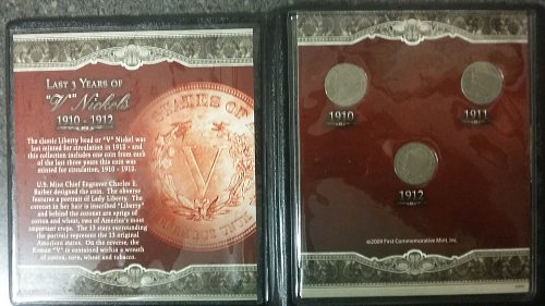 1910 1911 1912 Last years of the V nickels
