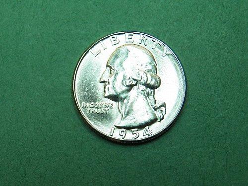 1954 S Washington Quarter Brilliant Uncirculated Coin   h06