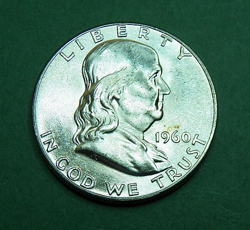 1960 P Franklin Half Dollar Brilliant Uncirculated Coin   g20