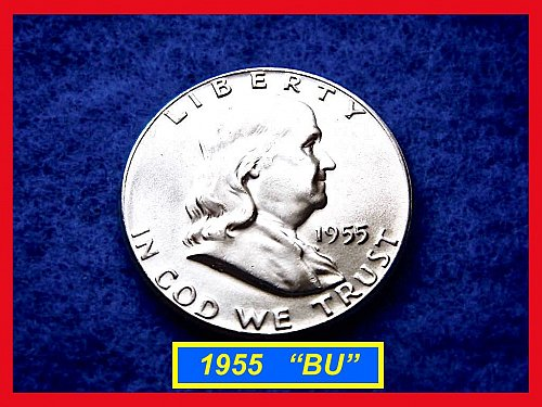 1955-P  Franklin Half Dollar – Blazing Mint State BU Coin  •• (#1454)