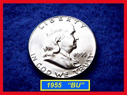 1955-P  Franklin Half Dollar – Blazing Mint State BU Coin  •• (#1454)