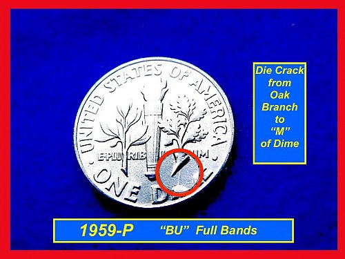 1959 BU Roosevelt Silver Dime with Full Bands & Die Crack  • #3270