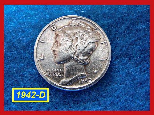 """1942–D    Mercury Dime   •• Very Nice """"XF"""" Coin ••  (#3239a)"""