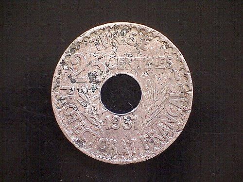 1350/1931 TUNISIA TWENTY-FIVE CENTIMES