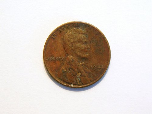 1941-P Lincoln Wheat Cent Lamination Error Coin.