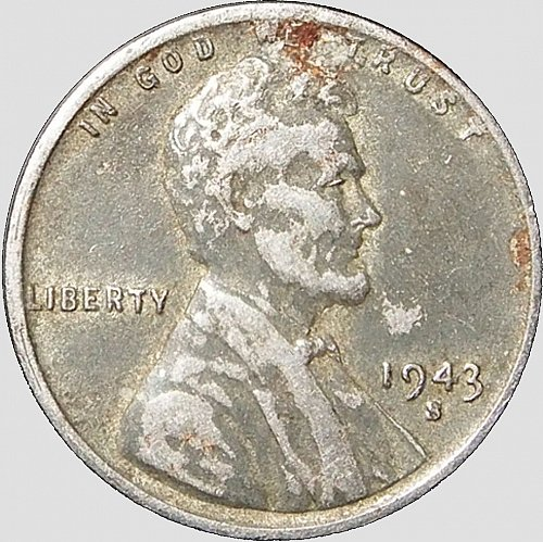 1943 S Lincoln Cent, Steel, VF 30, (Item 87)
