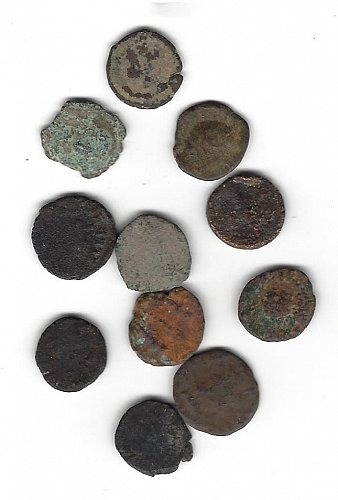 II  Uncleaned Ancient Roman Coins - Smaller Average 13 -14 mm Selling as a lot.