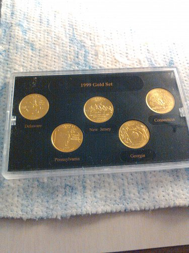 1999 CASED GOLD PLATED STATE QUARTERS SET
