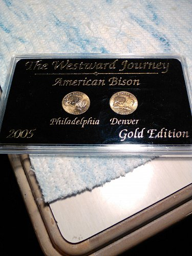 GOLD PLATED 2005 P AND D AMERICAN BISON NICKELS