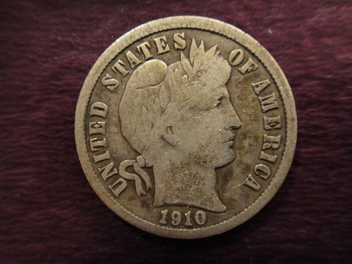 1910-D Barber Dime Fine-12 Nice Example For Grade!