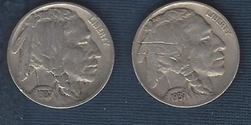 1937 and 1937-D Buffalo nickels - full dates and most of horn and tail.