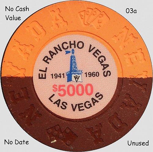Casino Commemorative Chip, El Rancho, Las Vegas, $5000, (Item 03)
