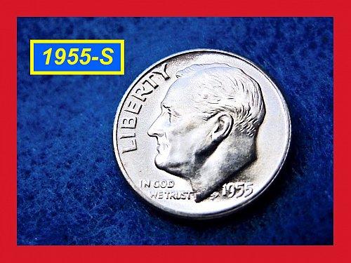 "1955-S Roosevelt Dime Gem ""BU"" Silver Dime   (#3292)"