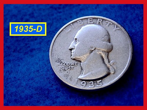 1935-D Washington SILVER Quarter • • • Circulated  (#2383)