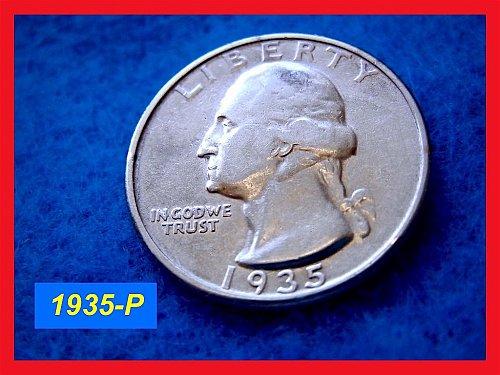 "1935-P Washington SILVER Quarter ••• ""VF-25""  (#2381)"