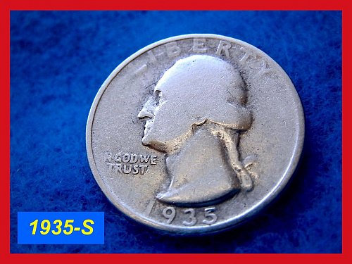 "1935-S Washington SILVER Quarter • • • ""CIRCULATED""  (#2382)"