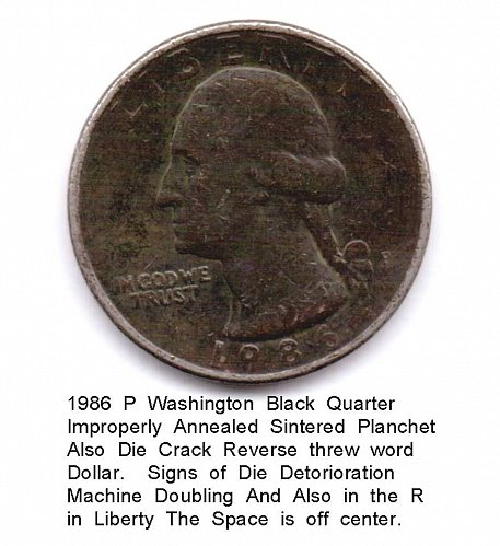 1986 P Black Quarter Improper Annealing Multi Errors